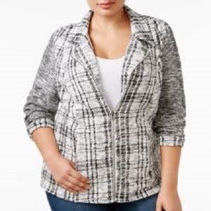 Style&Co Jacquard Jacket Full Zip Pockets Plaid